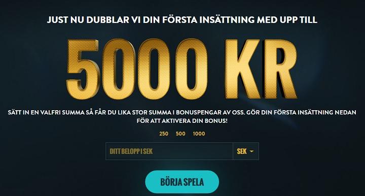 5000 kr casinobonus hos NoAccountCasino