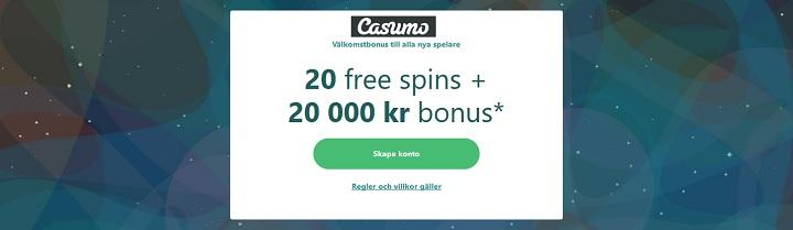 Ny stor Casumo casinobonus med 20 000 kr